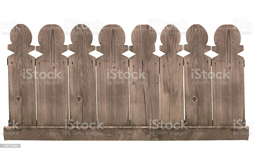 wooden fence on white background stock photo