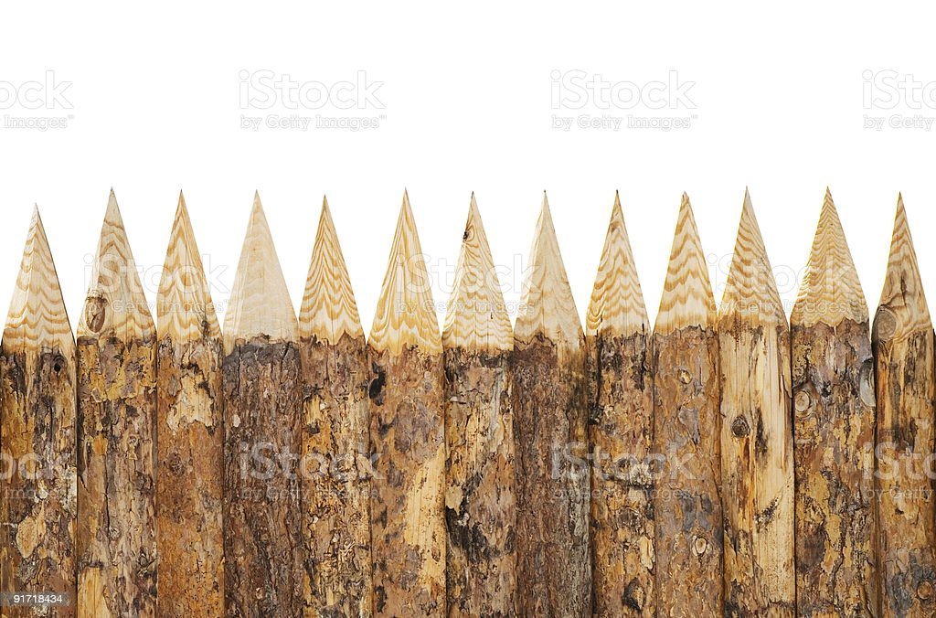 wooden fence on white royalty-free stock photo
