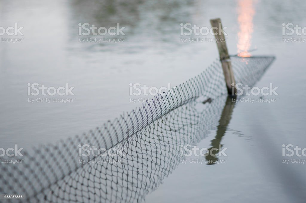 Wooden Fence Post and plastic net stock photo