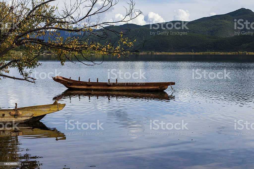 Wooden ferry boat on river ,the peaceful scene. royalty-free stock photo