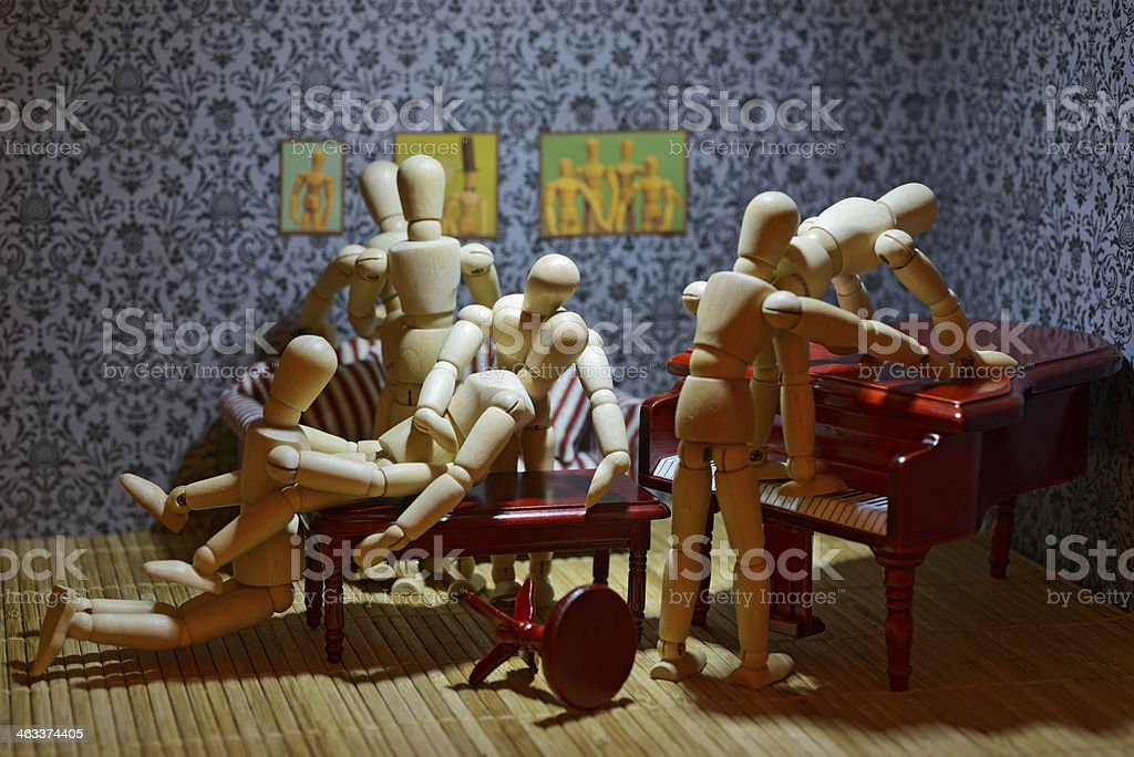 Wooden figure orgy stock photo