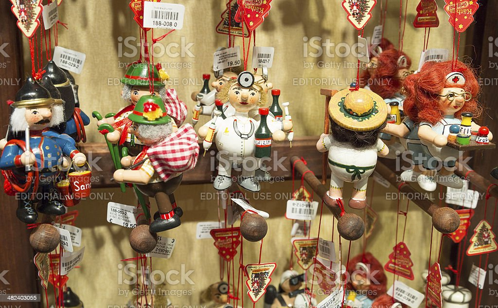 Wooden figures for sale royalty-free stock photo