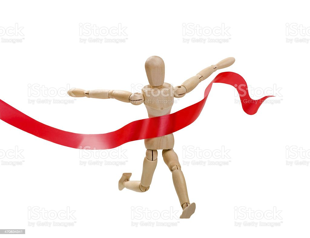 Wooden figurine of a leading man stock photo