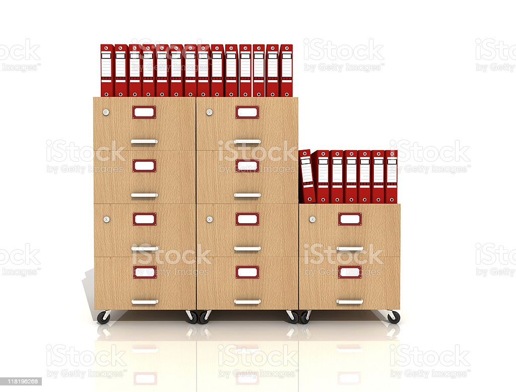wooden file drawer with red ring binders royalty-free stock photo