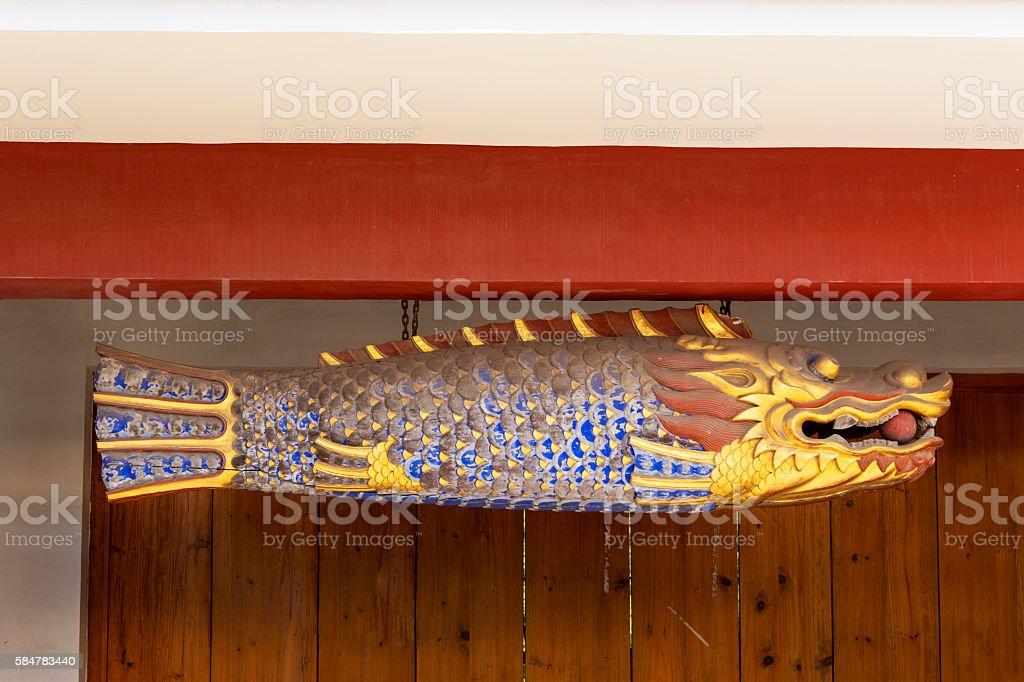 Wooden fish stock photo