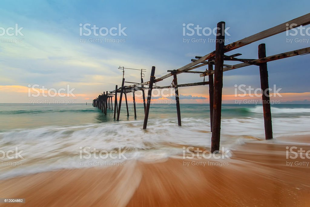 Wooden fisherman bridge stock photo