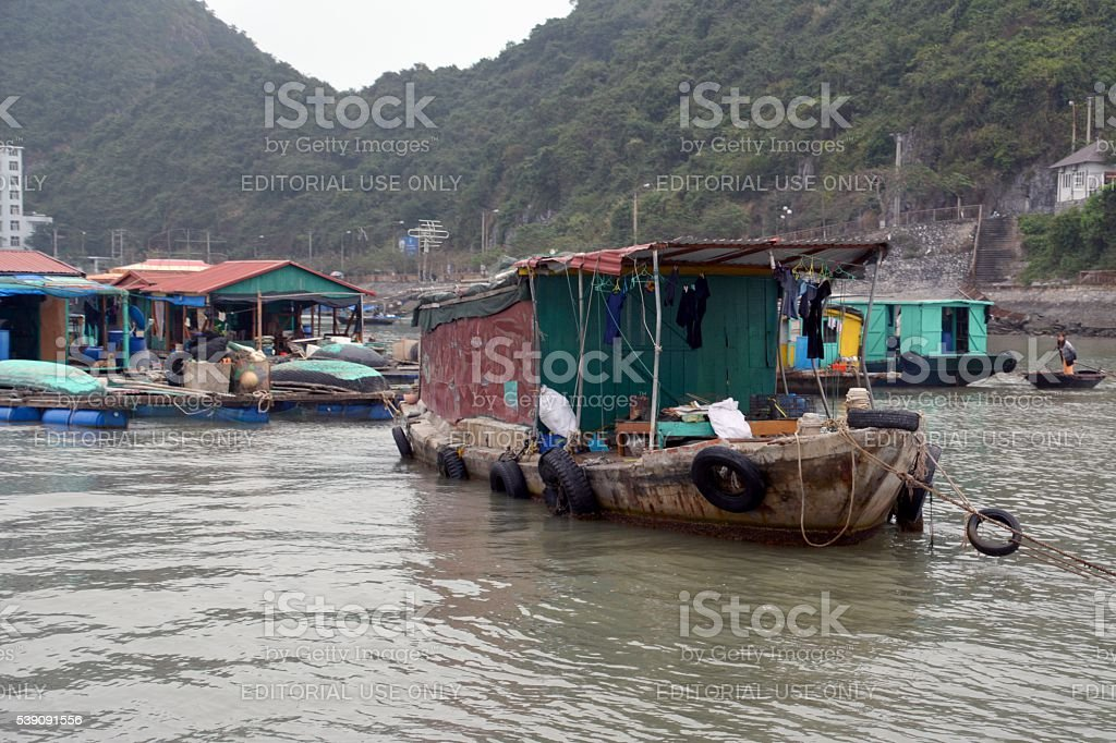 Wooden fishing boats on Lan Ha Bay, Vietnam stock photo