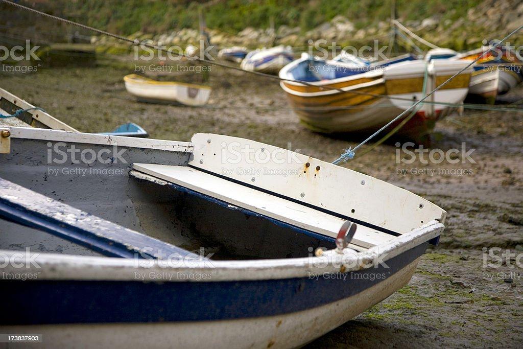 Wooden fishing boats stock photo
