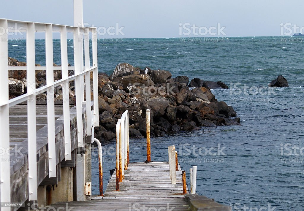 Wooden fishing jetty stock photo
