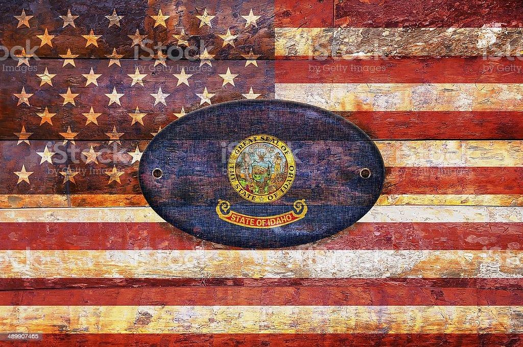 Wooden flag of Idaho. stock photo