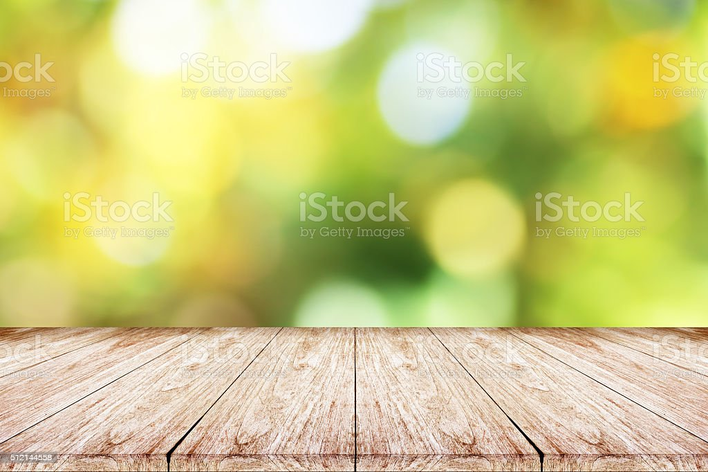 wooden floor and  bokeh blur background stock photo