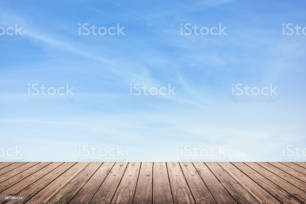 wooden floor and sky background stock photo