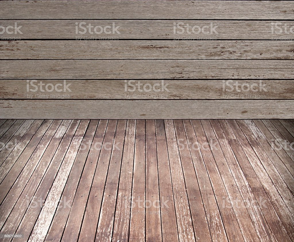 Wooden Floor And Wall stock photo
