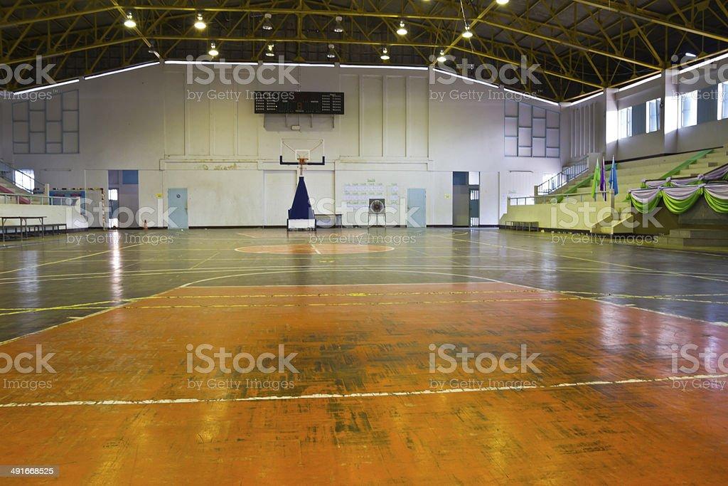 wooden floor basketball court indoor stock photo
