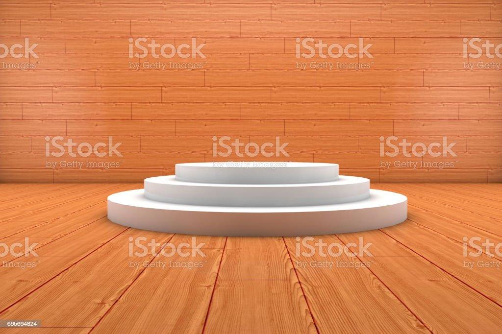 Wooden Floor White Empty Podium stock photo