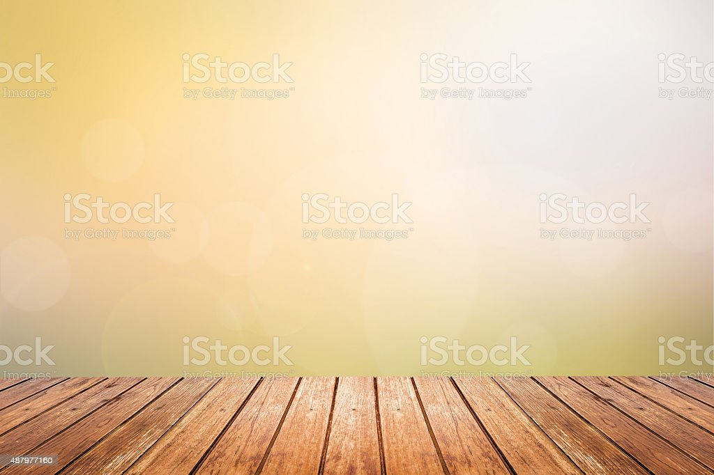 wooden floor with sunset sky blurred background stock photo