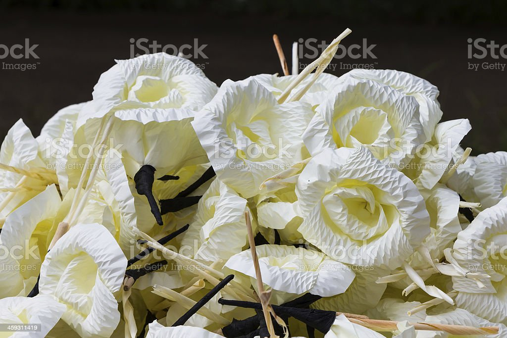 Wooden flower for buddhist cremation stock photo