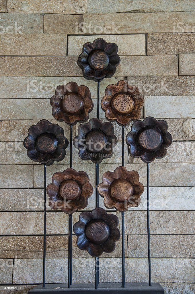 wooden flowers royalty-free stock photo