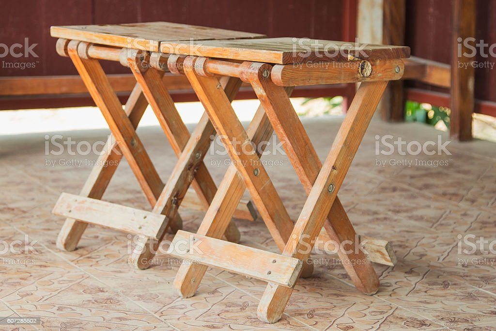 Wooden folding chairs stock photo