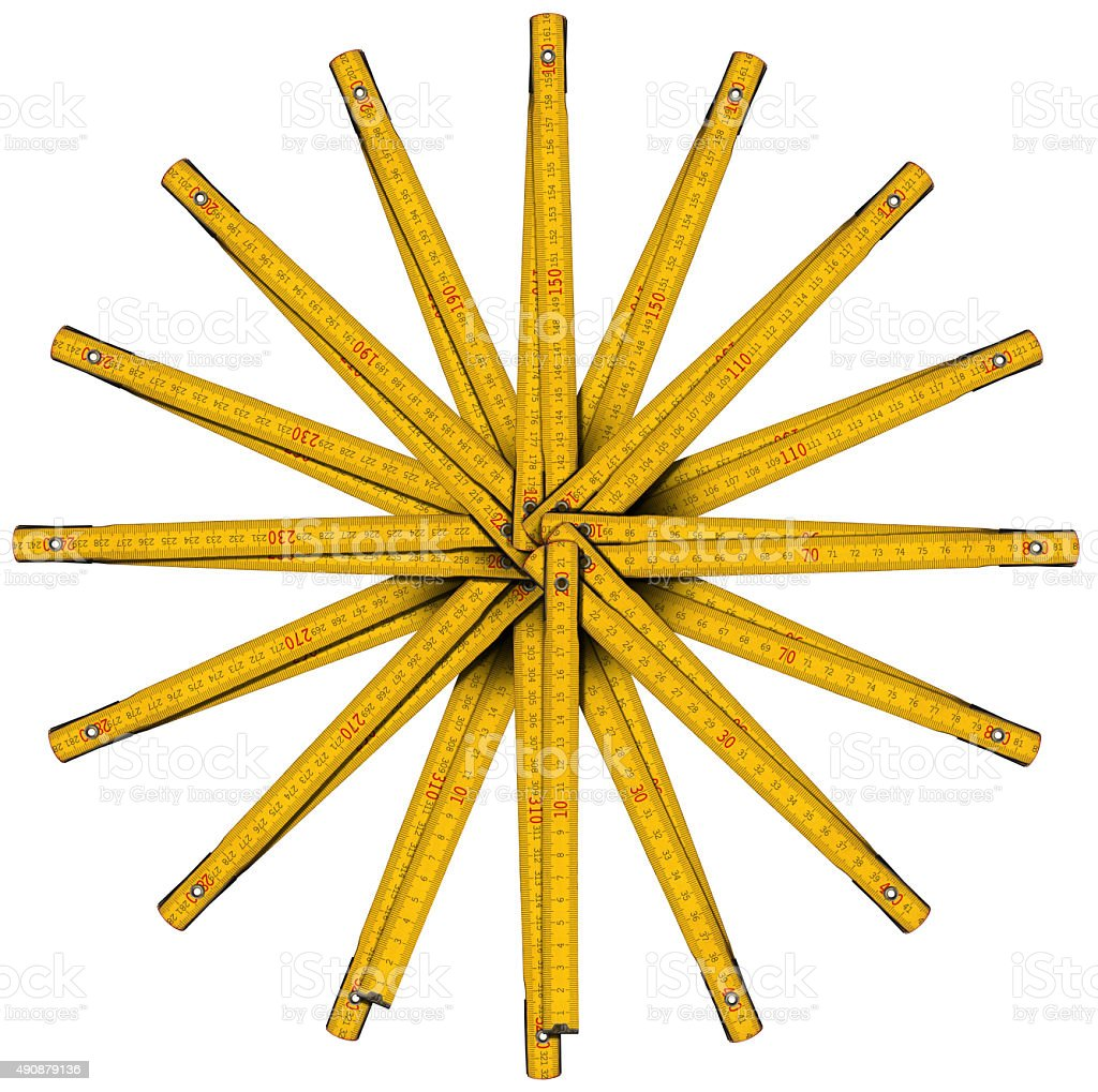 Wooden Folding Ruler Star Shaped stock photo