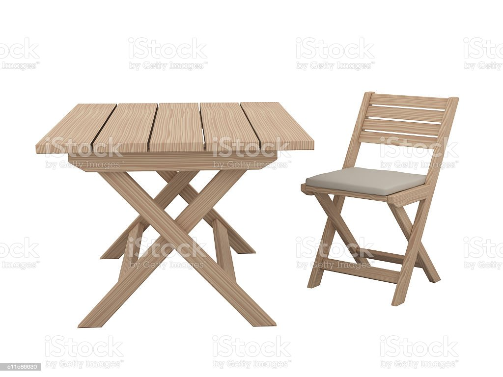 Wooden folding table and chair. stock photo