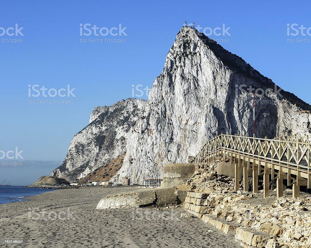 Wooden footbridge leading to Rock of Gibraltar. stock photo