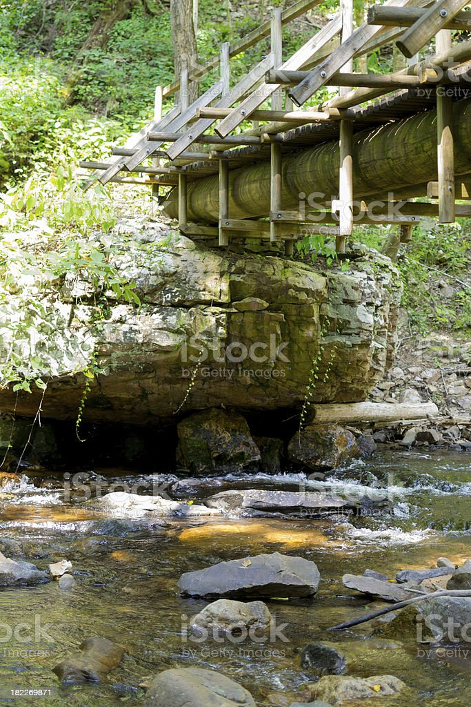 Wooden Footbridge over Stream royalty-free stock photo