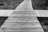 Wooden footbridge.