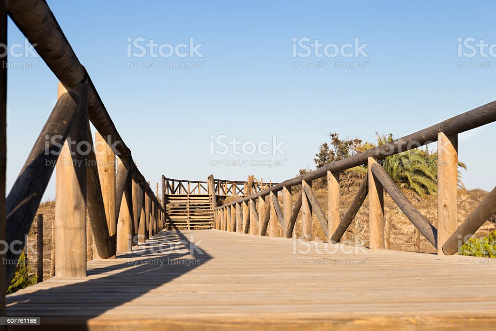 wooden footpath and  stairs stock photo