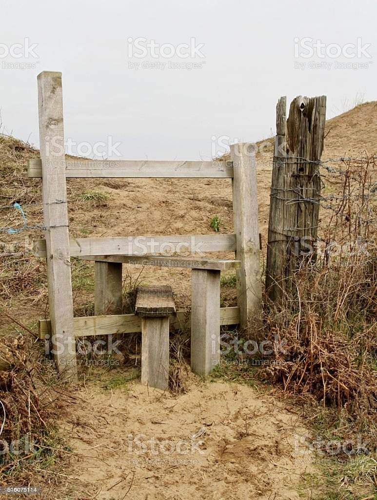wooden footpath Stile stock photo