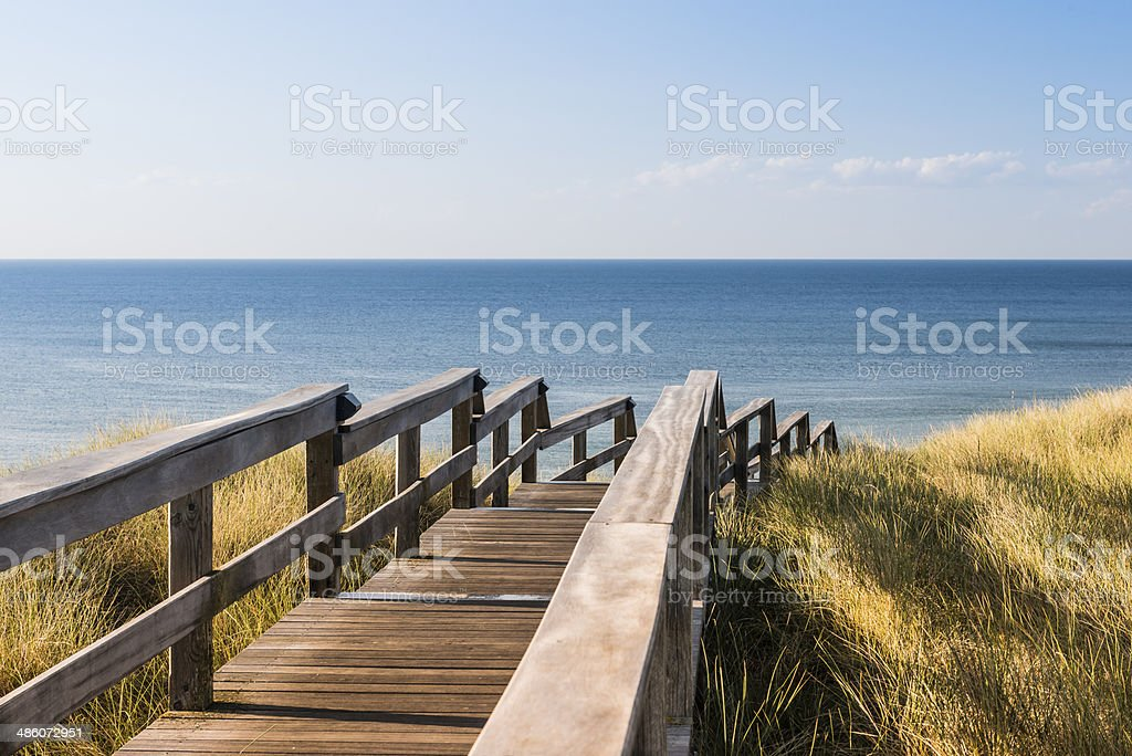 Wooden footpath through dune. North sea beach in Germany. stock photo