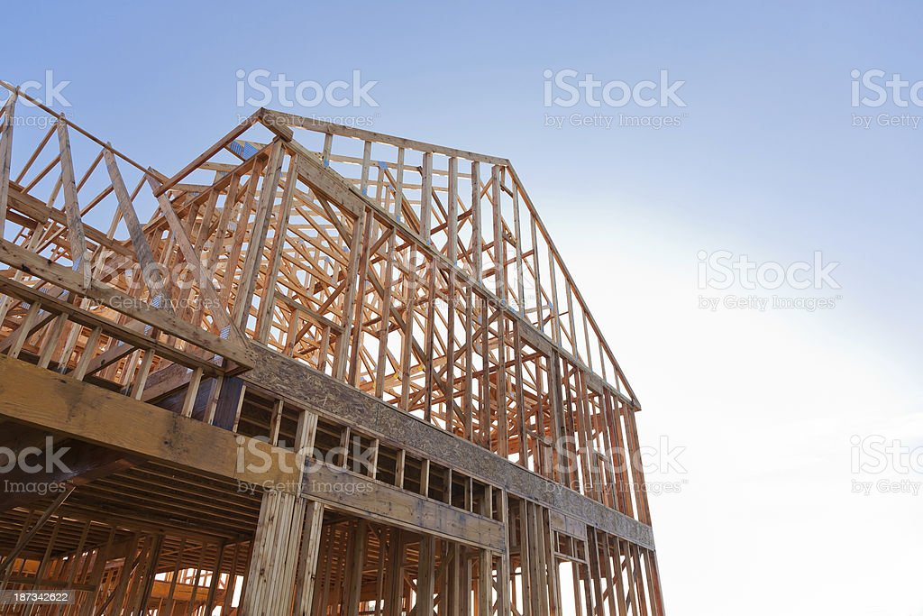 Wooden foundation of new home under construction royalty-free stock photo