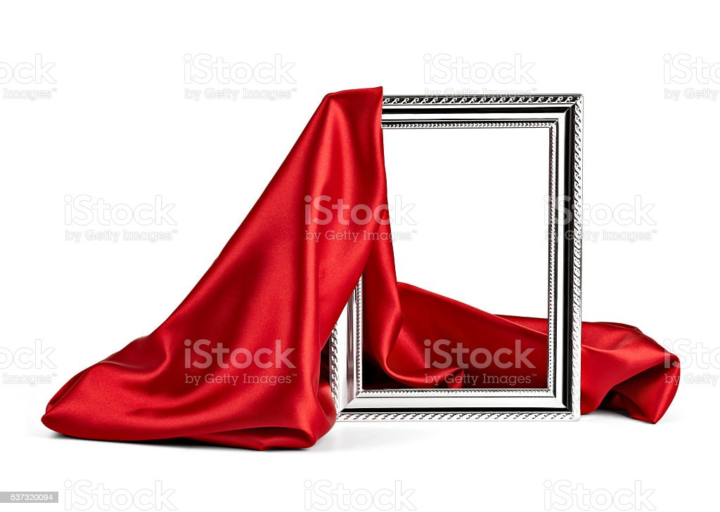 wooden frame and silk cover stock photo