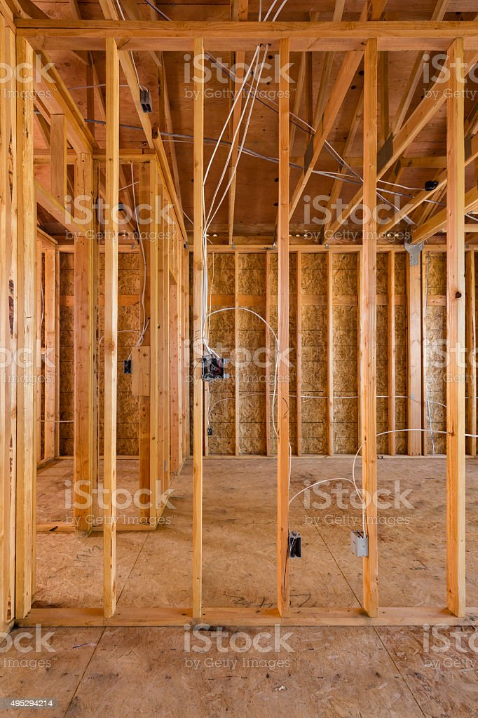 wooden frame interior stock photo