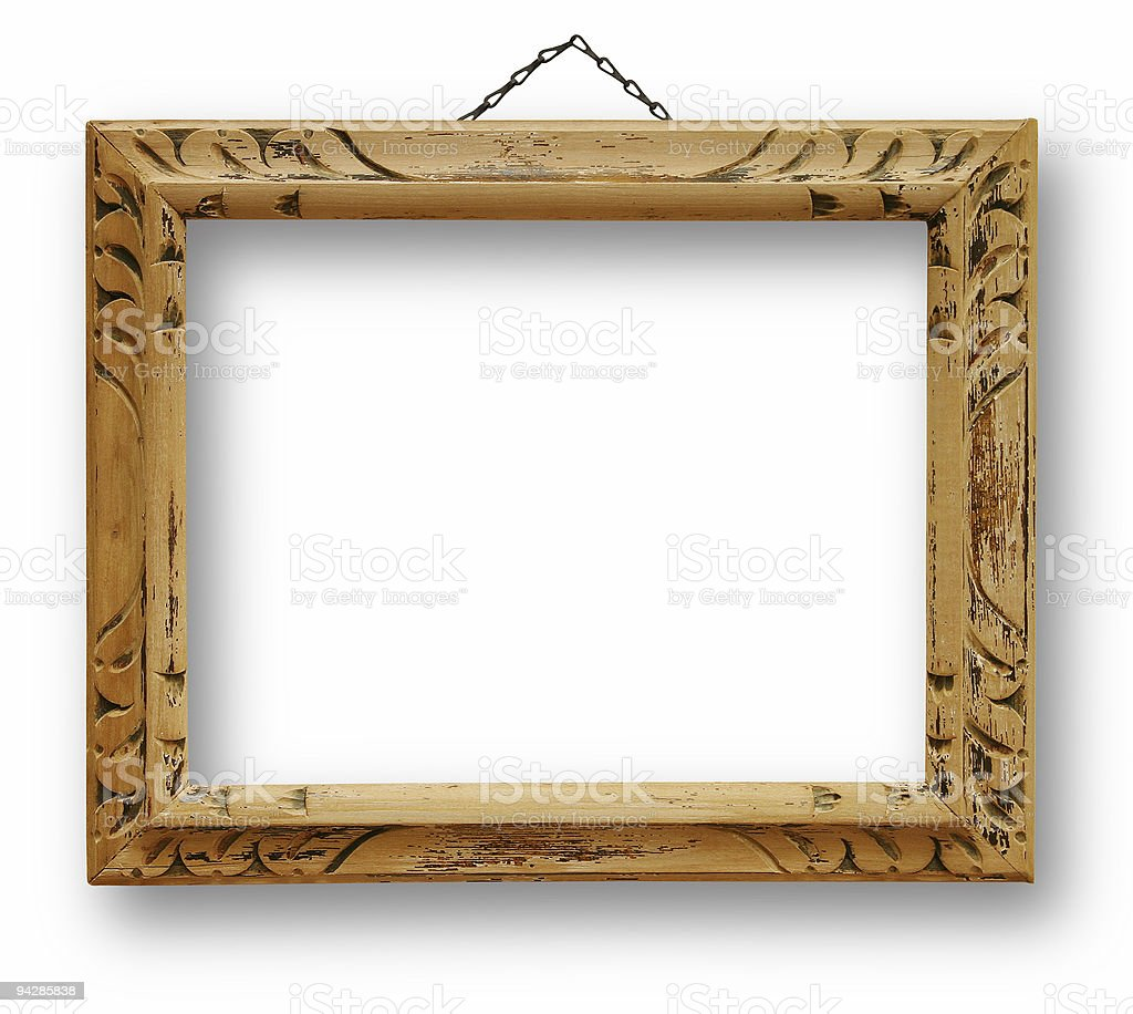 Wooden frame isolated with paths stock photo