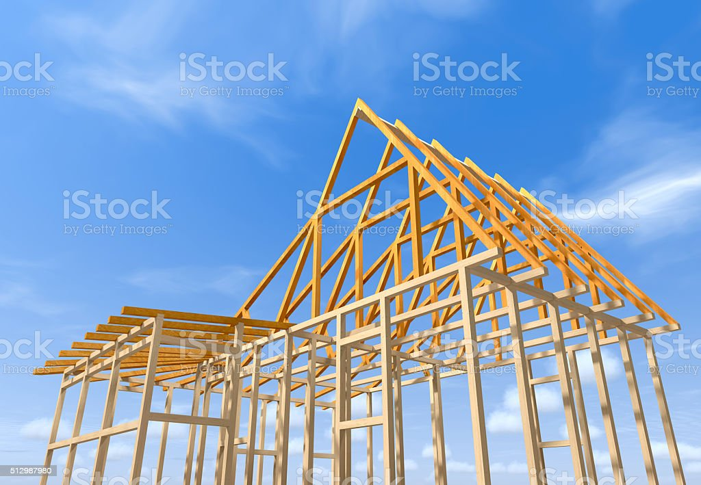 Wooden frame of a house. stock photo