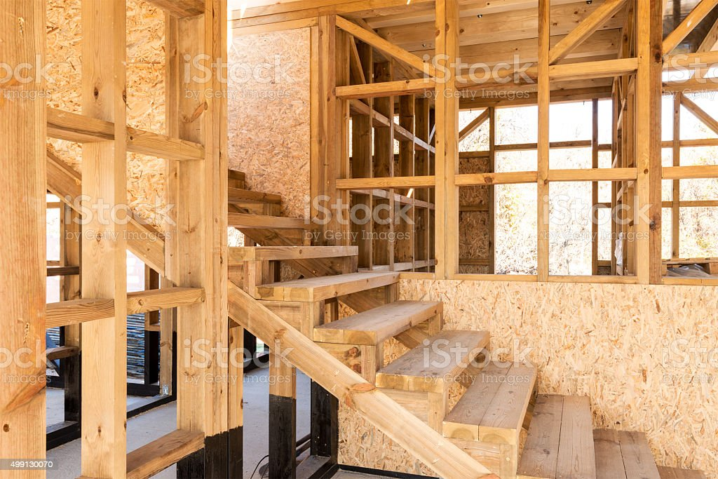 Wooden frame of a new house under construction stock photo