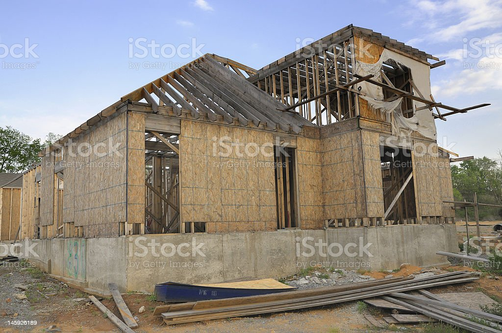 Wooden Frame of an Unfinished House royalty-free stock photo