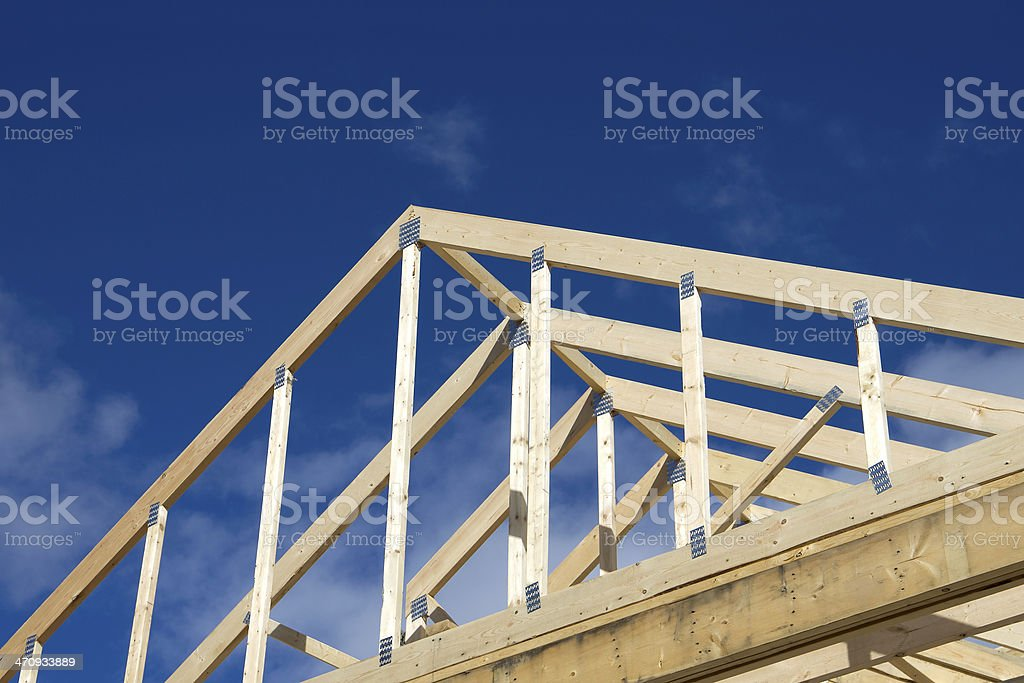 Wooden Frame of House Roof, Low Angle View royalty-free stock photo