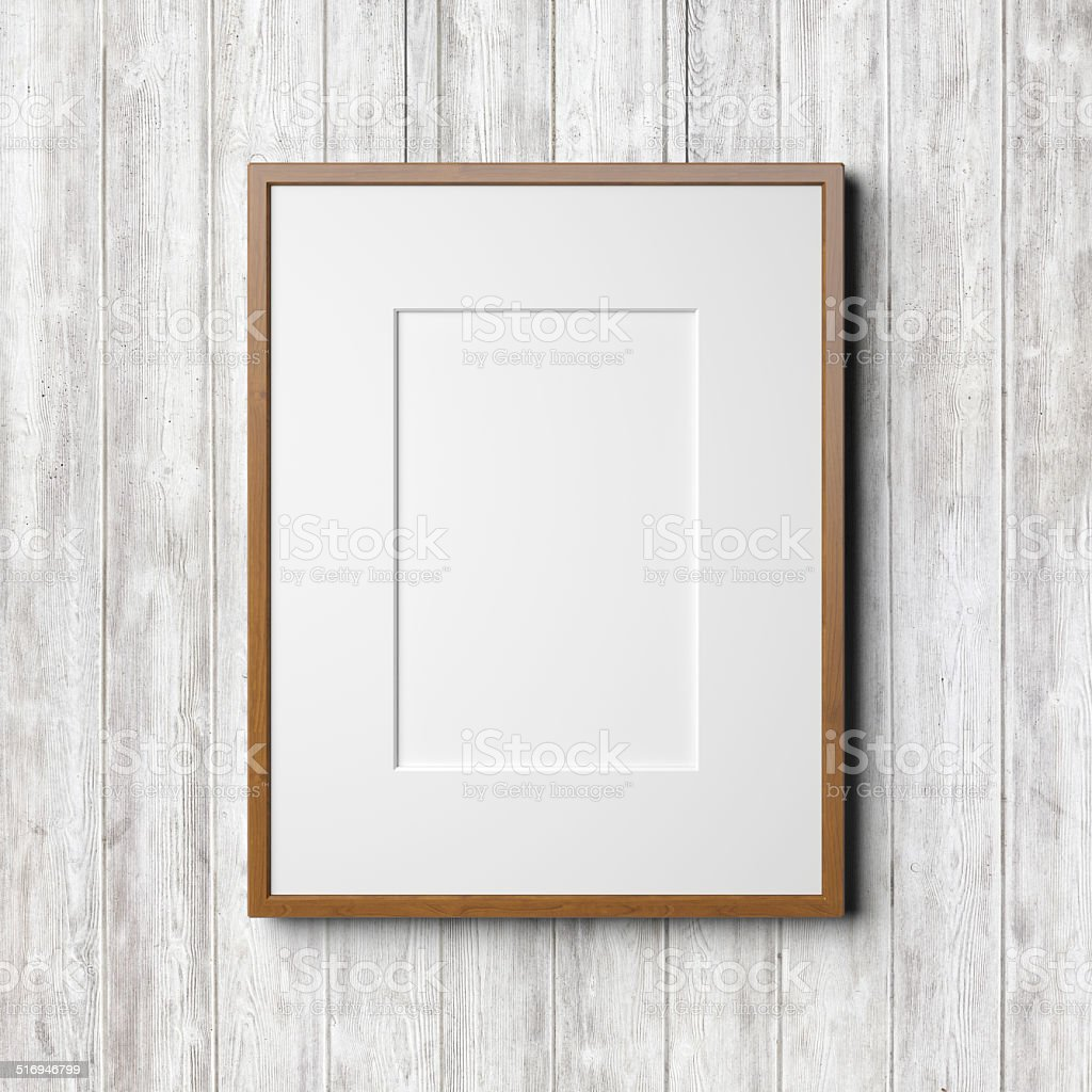 Wooden frame on the white wood background stock photo