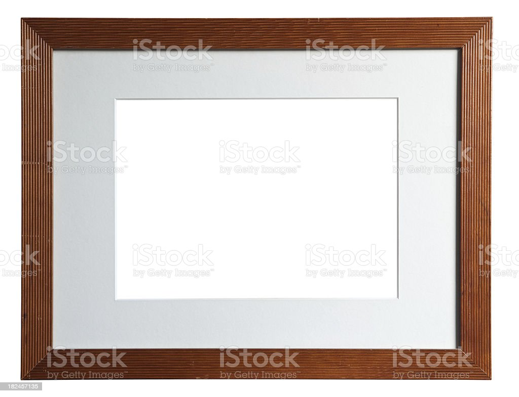 Wooden frame with a white passepartout stock photo