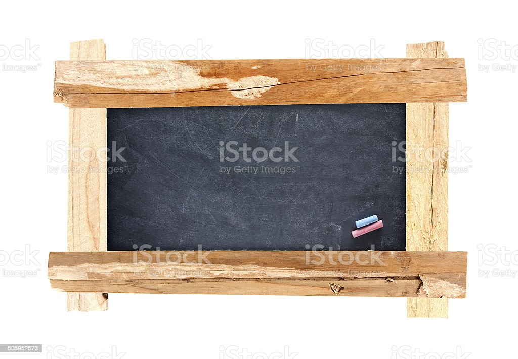 Wooden frame with blackboard isolated on white background stock photo