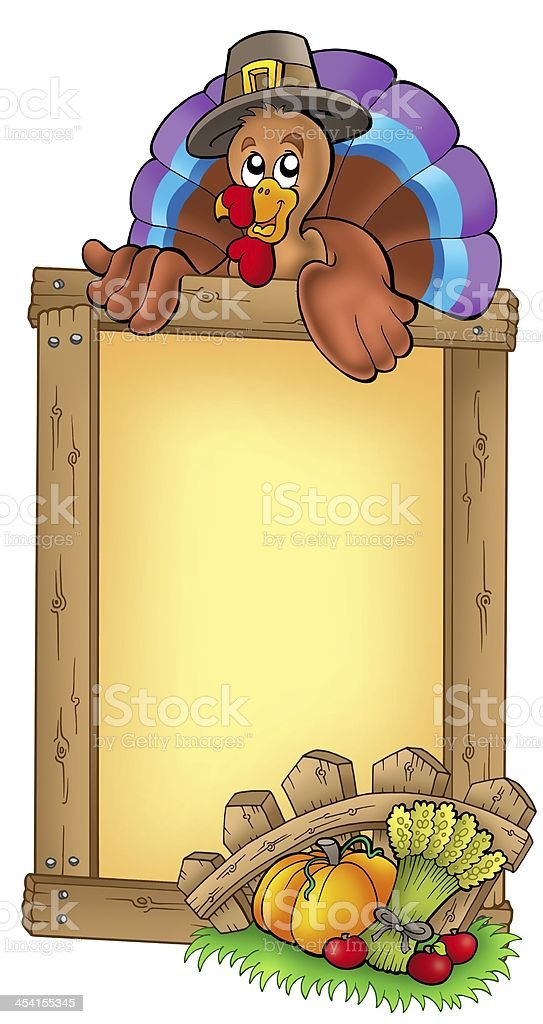 Wooden frame with lurking turkey royalty-free stock photo
