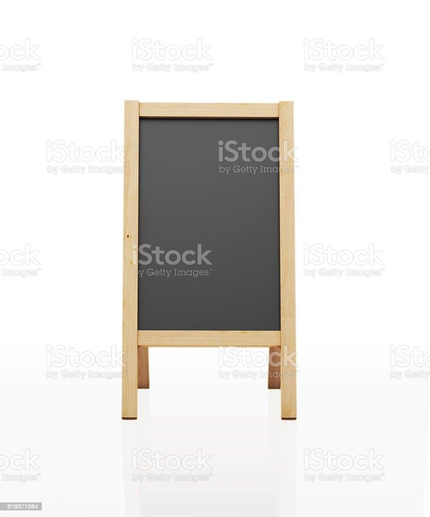 Wooden Framed Black Chalkboard Standing on Legs stock photo