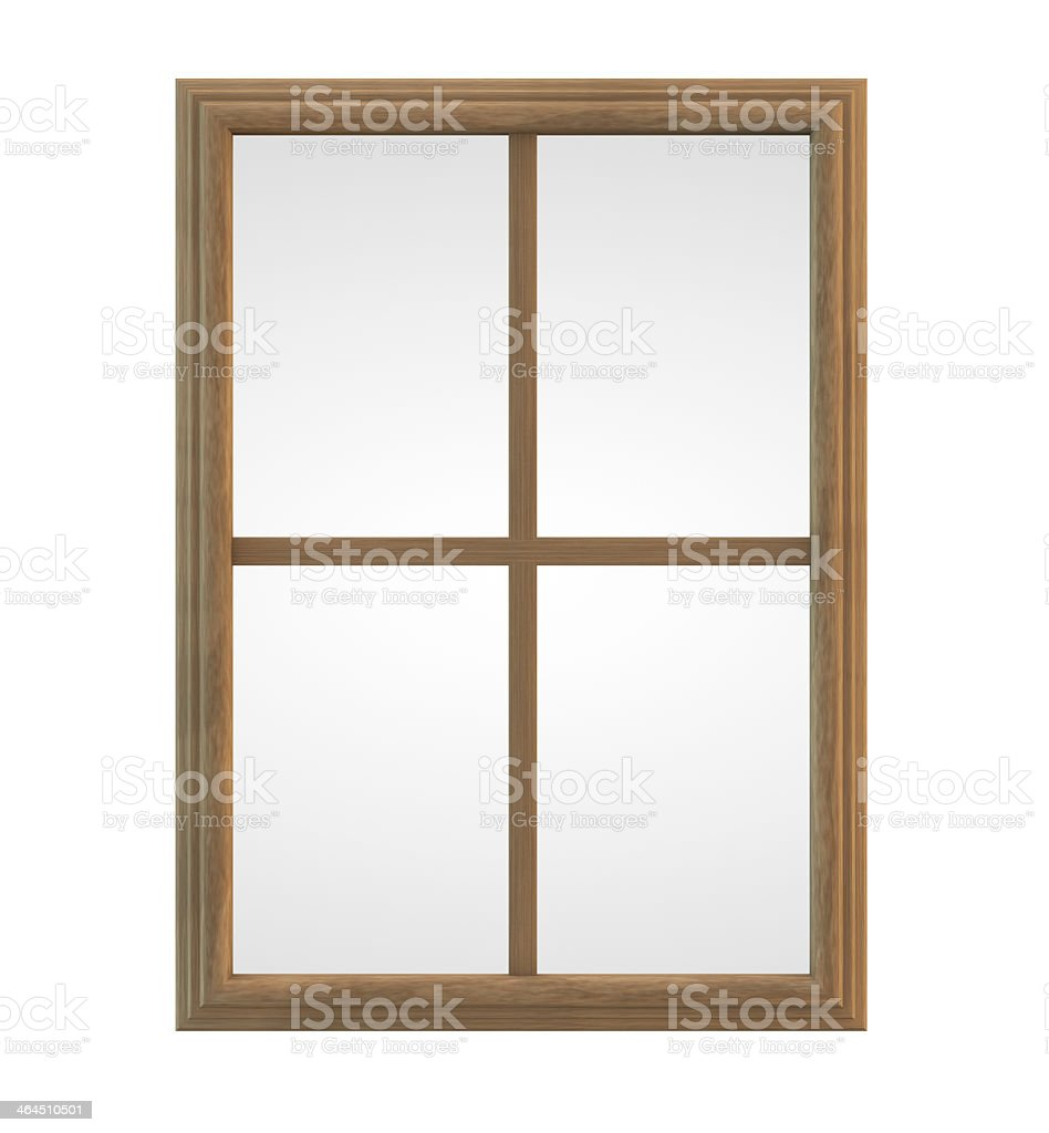 Wooden framed pane of glass on white background stock photo