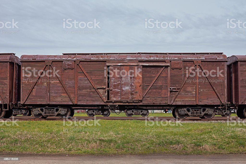 Wooden freight train stock photo