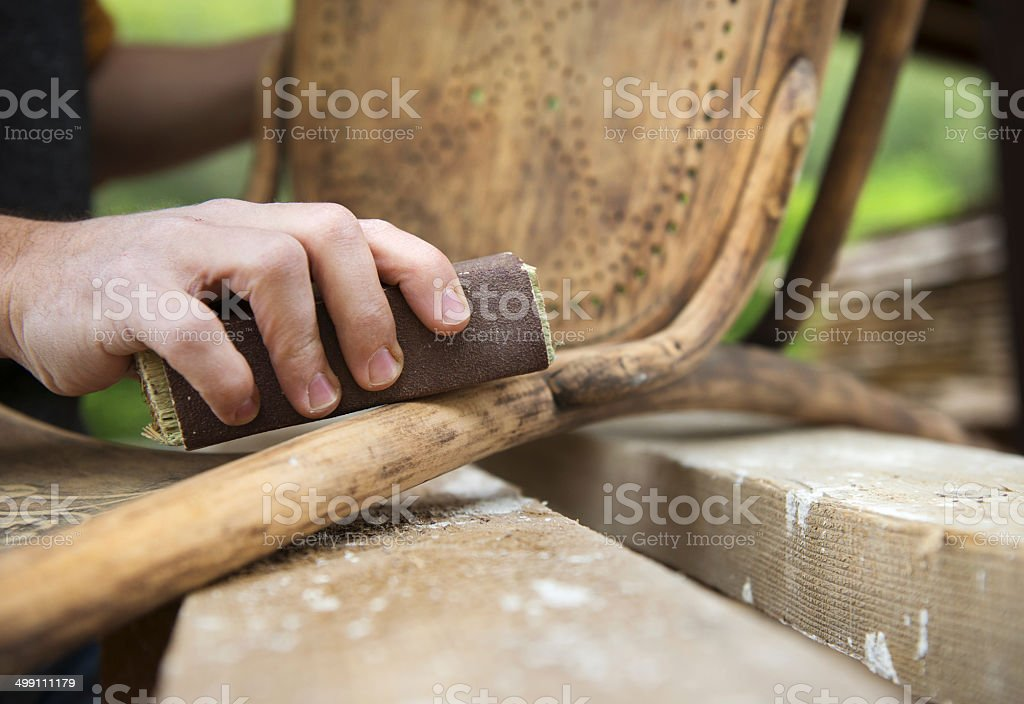 Wooden furniture restoration stock photo