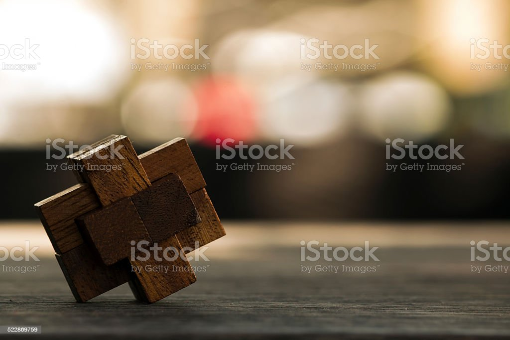 wooden game  block abstract with bokeh stock photo