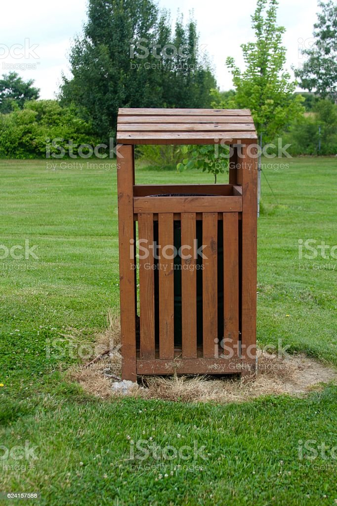 Wooden Garbage Can stock photo