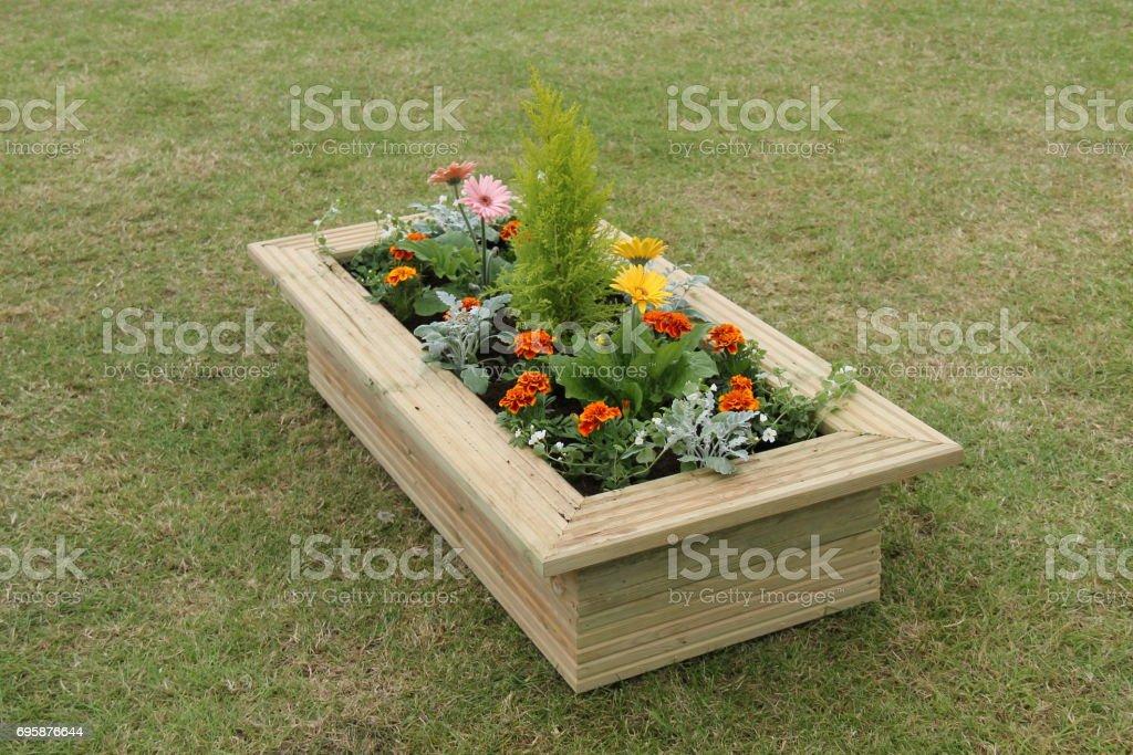 Wooden Garden Planter. stock photo